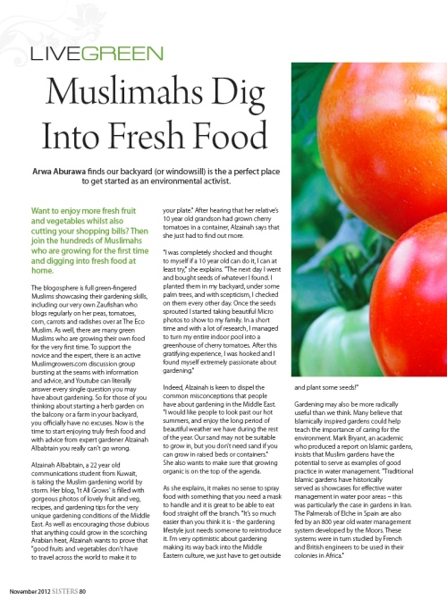 arwa aburawa green muslims sisters muslimah food growing green eco environmental